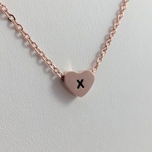 Jewelry - Letter X initial rose gold tone necklace heart